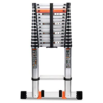 18.5FT Telescoping Ladder, Aluminum Collapsible Telescoping Extension Ladder with Stabilizer Bar, Hook and Nonslip Design, Multi-Purpose Telescopic Ladders Compact Attic Ladder, 330LBS Max Capacity