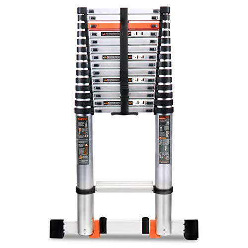 Telescoping Ladder, 18.5FT Aluminum Collapsible Telescoping Extension Ladder with Stabilizer Bar, Hooks and Nonslip Design, Multi-Purpose Telescopic...
