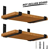 LuckIn 4-Pack 12 Inch Metal Lip Bracket for DIY Rustic Floating Shelf, Perfect Fit Standard Board Sold by Homedepot, Come with Wall Mounting Hardware for Various Surfaces