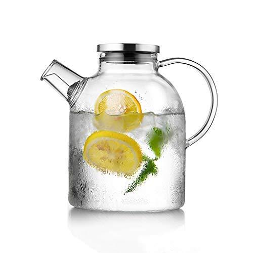 WYJW Glazen container met theepot, kruik in borosilicaat kan hittebestendig en zonder verlies van theesap, water, sap met deksel filter in glanzende bamboe (grootte: 1800 ml)