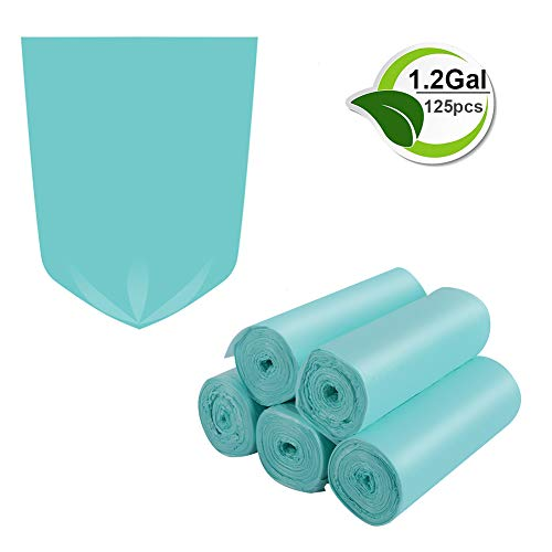 1.2 Gallon Biodegradable Trash Bags Small Trash Bags Unscented Garbage Bags Compostable Wastebasket Can Liners for Bathroom,Home, Office, Baby diaper(Emerald, 125 Counts)