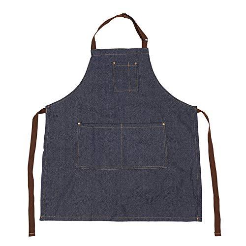 BRTTHYE Denim Simple Blue Unisex Jeans voor volwassenen dames heren dames keuken Pinafores
