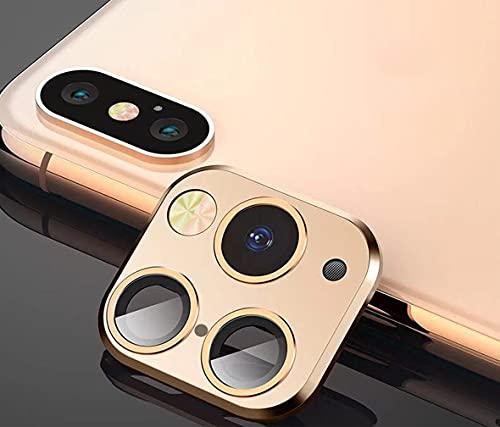FTYSXP Lente de la cámara modificada Segundos Cambiar la Cubierta para iPhone X/XS/XS/MAX Pegatina Cámara Falsa para iPhone 11 Pro MAX Protector de Metal Cambiar a iPhone Pro/MAX (Dorado)