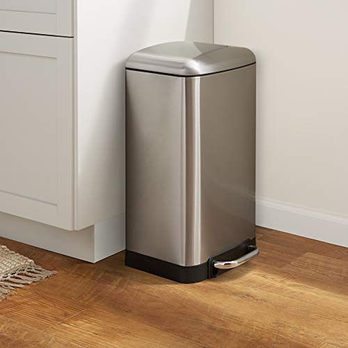 AmazonBasics Stainless Steel Rectangular Soft-Close Trash Can with Steel Bar Pedal - 16.65L / 4.4 Gallon