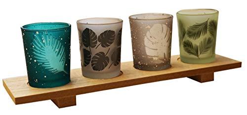 khevga Windlicht-Tablett Teelichthalter Holz Glas 5er Set