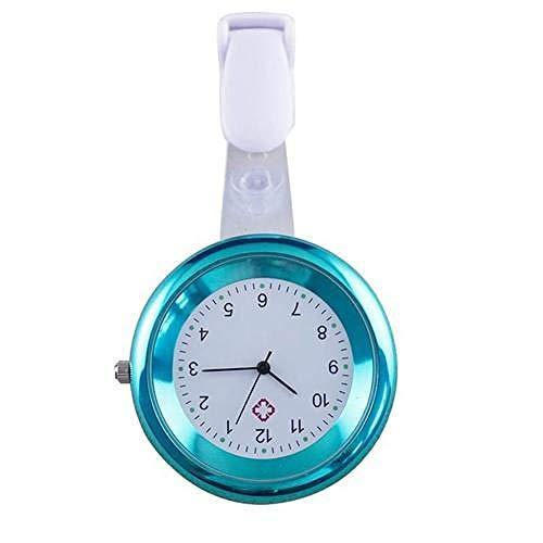 LLRR Reloj de Enfermera,Simulación Digital Redonda para Mujer de Relojes con Pinza de Cuarzo, Reloj de Bolsillo-Blau,Reloj de Silicona Unisex para médicos