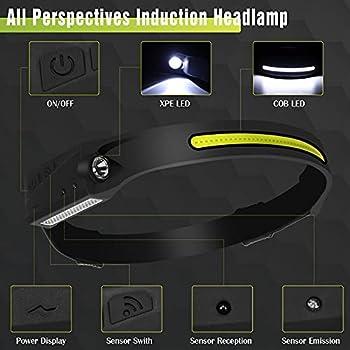 Lampe Frontale,Super Brillante Phare à Capteur à 6 Modes de 350 Lumens,Rechargeable USB IPX6 Étanche Réglable COB Lampe Frontal,Pour Le Campingla Pêche,Le Jogging et la Randonnée