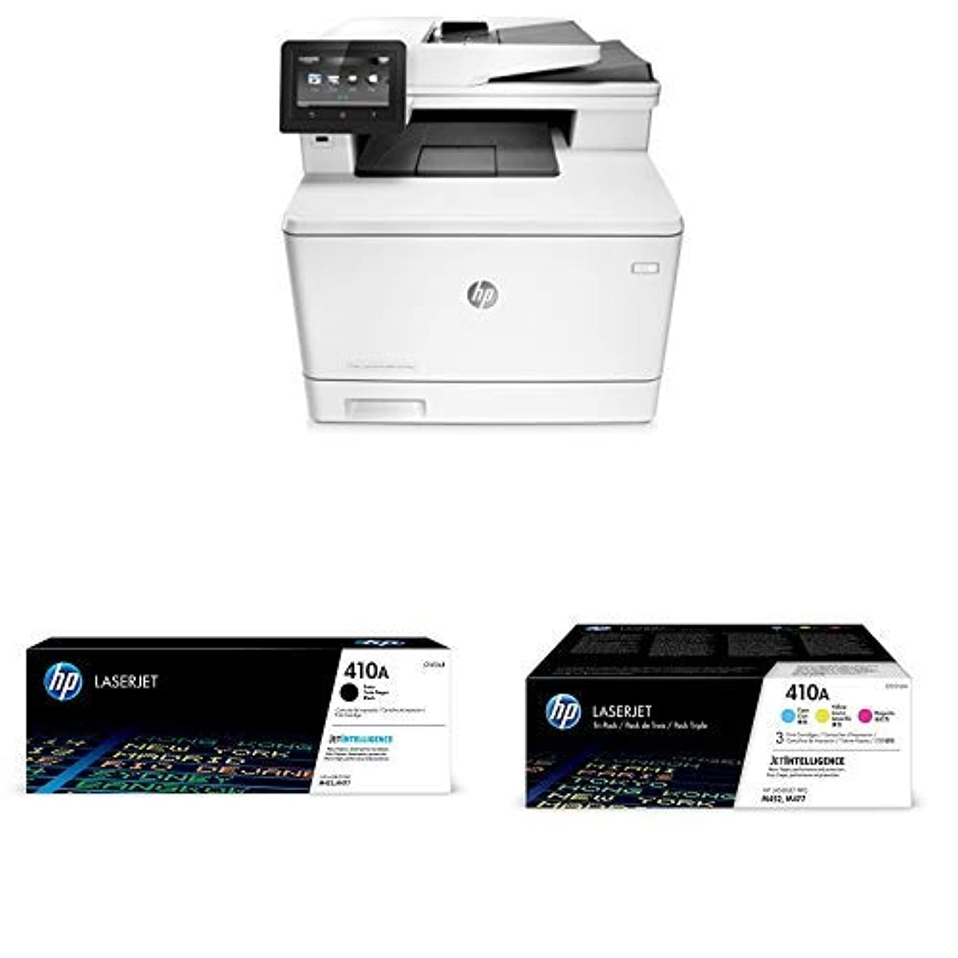 HP LaserJet Pro M477fnw Multifunction Wireless Color Laser Printer with Built-in Ethernet (CF377A) with Standard Yield 4 Color Toner Cartridges
