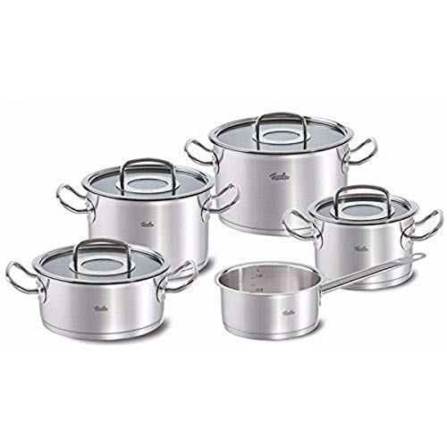 Fissler FISS-08413605000 original-profi collection , Stainless Cookware Set, 9 pieces, Cooking-Pot-Set, with glass lid, induction,  3 stock pots with lids, 1 roasting pan with lid and 1 sauce pan