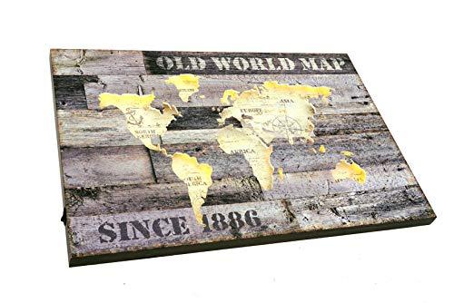 Spetebo 3D Holz LED Weltkarte - 60x40 cm - Leuchtbild Wand Deko Bild Landkarte beleuchtet