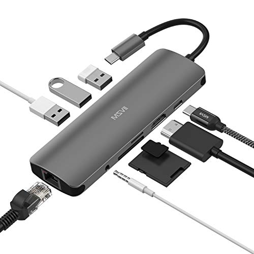 MSVII USB C Hub, 9 in 1 USB Type C Adapter with Ethernet, 4K USB C to HDMI, 3 USB 3.0 Ports, SD/TF Card Reader, 3.5mm Audio Jack, PD Fast Charging for Mac Book Pro and Other Type-C Laptops