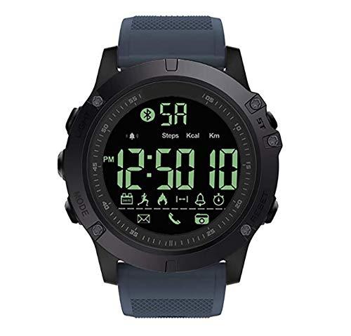 WMING Reloj Inteligente Bluetooth, Reloj De Los Hombres 5 ATM IP68 A Prueba De Agua Contador De Calorías Podómetro Cronómetro Mensaje Push Rastreador De Ejercicios Pulsera Deportiva