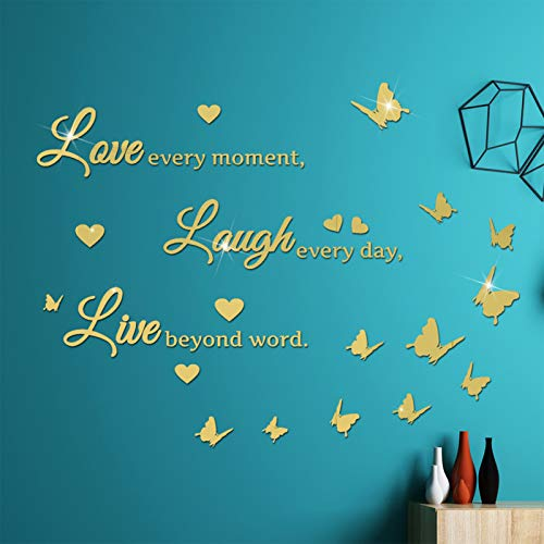 DIY Mirror Butterfly Wall Sticker Love Laugh Live Quotes Wall Decal, VASZOLA 3D Butterflies Heart Home Nursery Decor Art Murals Paper Decoration for Living Room Office Bathroom (Gold)