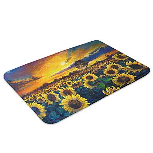 YOUYO Spark Felpudo con diseño de girasol en la puesta del sol y absorción de agua, práctico zapatero para entrada, dormitorio, color blanco, 40,6 x 60,9 cm