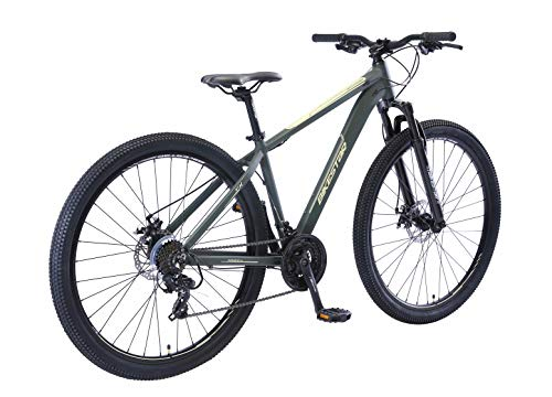 BIKESTAR Hardtail Aluminium Mountainbike Shimano 21 Gang Schaltung, Scheibenbremse 29 Zoll Reifen   17 Zoll Rahmen Alu MTB   Grün Beige