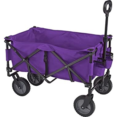 Academy Sports Outdoors Folding Sport Wagon with Removable Bed Rolls well on grass gravel and even mud (Purple)