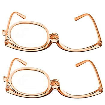 2 Pack Magnifying Makeup Glasses Eye Make Up Womens Cosmetic Reading Glasses Spectacles Flip Over Lens Folding  Copper 2.00