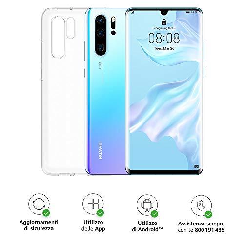 "Huawei P30 Pro Smartphone + Cover Trasparente, 8GB RAM, Memoria 128GB, Display 6.47"" FHD+, CPU Kirin 980, Quadrupla Fotocamera 40+20+8MP, Sensore TOF, SuperZoom 50x [Italia], Crystal"