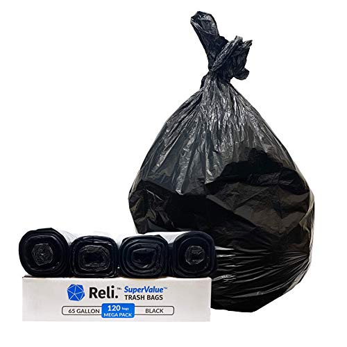 Reli. 65 Gallon Trash Bags Heavy Duty | 120 Count Bulk | Made in USA | 64 - 65 Gallon Black Large Garbage Bags (64 Gal - 65 Gal Trash Can Liners for Toter)