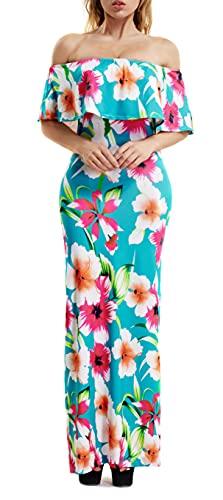 Suimiki Vintage Ruffle Plain Floral Printed Off Shoulder Bodycon Long Party Maxi Dress Blue X-Large