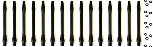 15 x Alu Schaft Schäfte SCHWARZ Shaft Shafts Short 35 mm + 20 x O-Ring Dart Darts + 1 set British Dartflights GRATIS!!!!