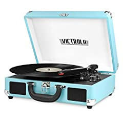 Three-speed turntable (33 1/3, 45, 78 RPM) plays all of your vinyl records and favorite albums. Built-in Bluetooth to wirelessly play music from your Bluetooth enabled device. No cords needed. Portable suitcase design with easy carry handle. 3.5mm Au...