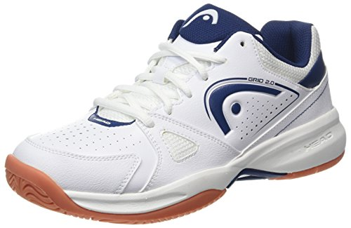 HEAD Men's Grid 2.0 Low Racquetball/Squash Indoor Court Shoes (Non-Marking) (White/Navy) 9.5 (D) US