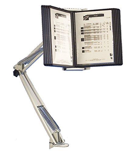 Superior - Atril con brazo articulado para exposición de documentos (con 10 carpetas transparentes A4)