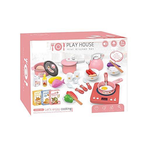 jieGorge Juguete Educativo, Utensilios de Cocina de Juguete para niños con Comida para Jugar, Juego de Juguetes, Accesorios de Cocina, Juguetes y Pasatiempos (Rosa)