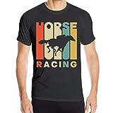 ビンテージスタイルの競馬シルエットメンズ半袖Tシャツ速乾性アウトドアスポーツTシャツ