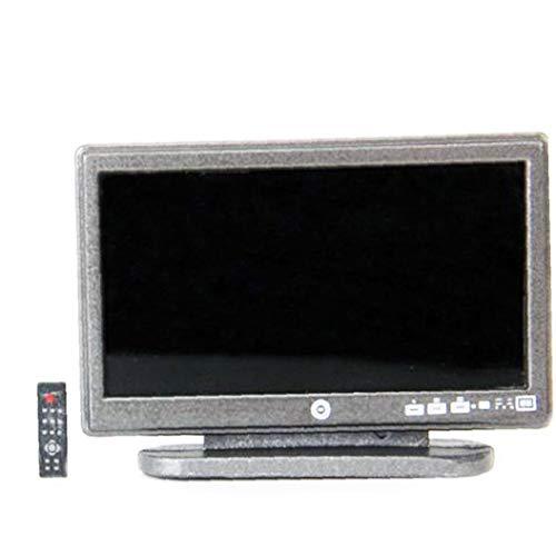 Ohomr Miniatur-Puppenhaus Fernseher mit großem Bildschirm LCD mit Remore Steuerung für Puppenhaus Wohnzimmer Puppenhaus Dekoration Zubehör