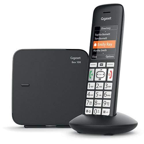 Gigaset E375 / E370 Black Edition Schnurloses Telefon für Senioren, mit großen Tasten und SOS-Funktion, einfache Bedienung, extra großes Farbdisplay, einfache Bedienung