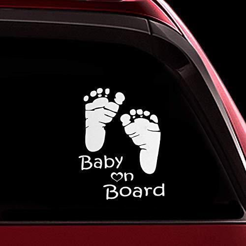 TOTOMO Baby an Bord Aufkleber - lustiges niedliches Sicherheits-Vorsicht-Abziehbild-Zeichen für Autoscheiben und Stoßstangen - Footprint ALI-036
