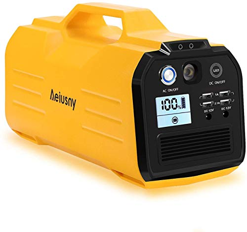 Aeiusny Portable Power Station, 296Wh/400W Solar Generator Power Supply CPAP Backup Battery, 110V Pure Sinewave AC Outlet, 12V DC, USB Output for Outdoor Camping Trip Fishing Emergency