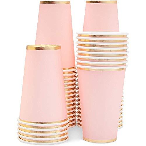 Juvale Copas de papel rosa desechables de 12 onzas, color rosa claro con borde de lámina dorada, decoración para baby shower, cumpleaños, capacidad de 12 onzas