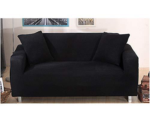 GELing Sofabezug Sofaüberwurf Sesselhussen Elastisch Sofa Abdeckung Hussen Couchbezug Schwarz 2 Sitzer(145-185CM)