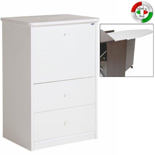 Mobile con asse da stiro in legno con 3 cassetti colore bianco cm 40x54xH84