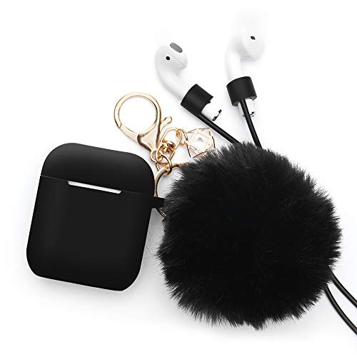 for Airpods Case - BlUEWIND Drop Proof Air Pods Protective Case Cover Silicone Skin, Cute Fur Ball Airpods Keychain/Strap, Apple Airpods Accessories, Best Gift for Girls and Women, Black