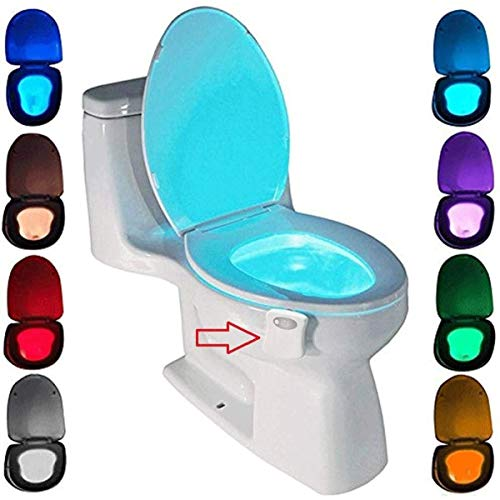 Toilet Night Light Motion Activated by ZSZT, Two Modes with 8 Color Changing, Sensor LED Washroom Night Light Fits Any Toilet (8 Colors)