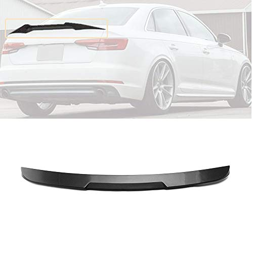 MotorFansClub Rear Spoiler Fit for Compatible with Audi A4 S4 Sline B9 2017 2018 2019 V Style Highkick Trunk Spoiler Wing (Real Carbon Fiber)