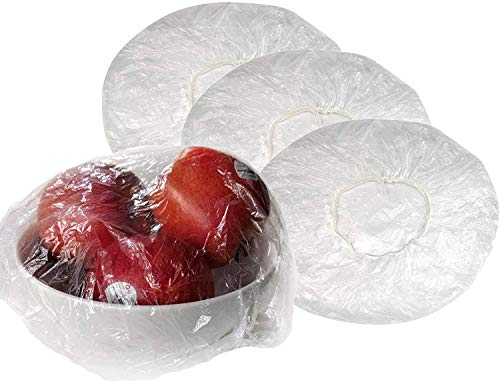 100Pcs Reusable Elastic Bowl Cover, Transparent Plastic Food Plate Cover with Elastic Edging for Fruits Leftovers Outdoor Picnic