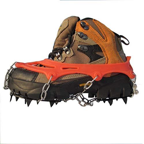 WanYangg Anti-Rutschen Steigeisen Schuhkrallen, Eisspikes, Schneekette,und Spikes Steigeisen mit Edelstahlspikes für Winter Walking Wandern Bergsteigen 12 Teeth-Orange M