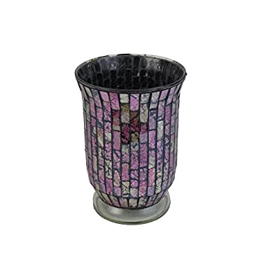 Firefly Home Collection Mosaic Candle Holder, 6 x 6 x 8 , Pink
