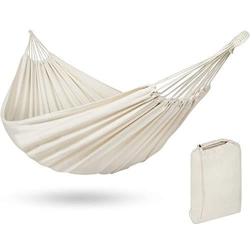 Lsdnlx Hamaca,Hamaca de algodón Hamaca Doble brasileña Senderismo Camping Hamaca de Lona de Tela Suave y cómoda para Patio Porche Jardín