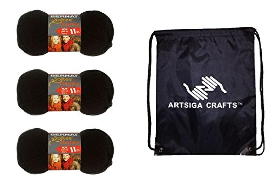 Bernat Softee Chunky Yarn (3-Pack) Black 161128-28040 Bundle with 1 Artsiga Crafts Project Bag