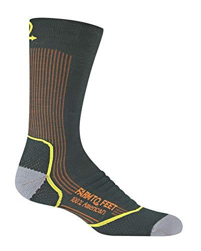 Farm to Feet Men's Damascus Lightweight Crew Merino Wool Socks, Green Gables, Medium