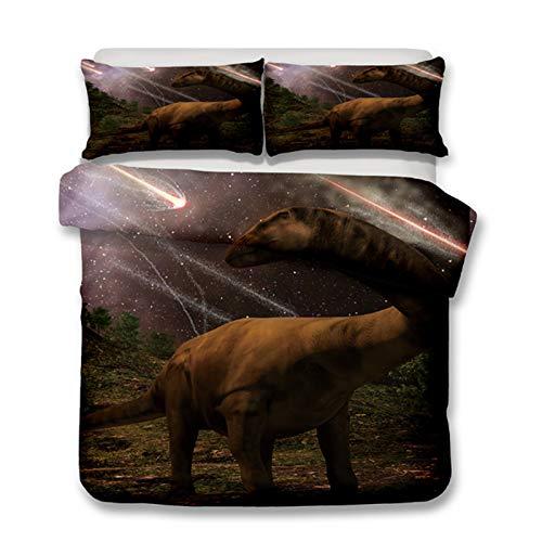 KORANGE Duvet Cover 3 Pieces Microfiber Dinosaur Bedding Single for Kids with 2 Pillowcases Zipper Closure (Size : EU 3pc King 240x220cm(94'x87'))