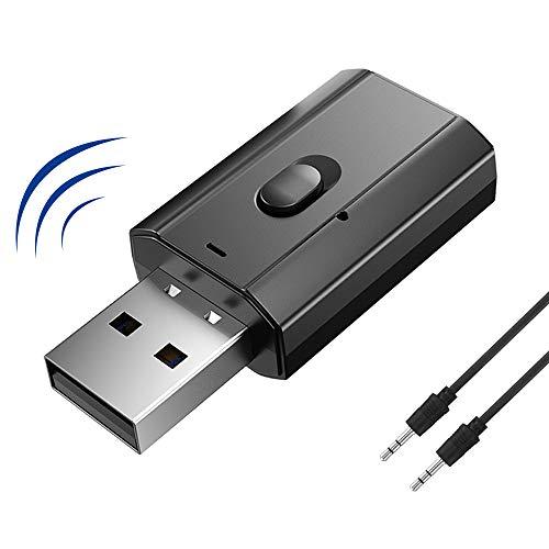 FLYEER 2 en 1 USB Bluetooth 5.0 adaptador Transmisor y receptor inalámbrico de audio con audio digital de 3,5 mm para altavoz con cable/TV/coche/MP3/sistema de audio casero / auriculares