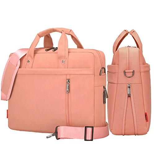 SHUL Double-Layer Air Cushion Shockproof Laptop Bag 17 inch Extensible Computer Shoulder Bag Messenger Bag Water Resistant Business Briefcase for Chromebook Ultrabook Dell Hp Sony Samsung Lenovo Pink