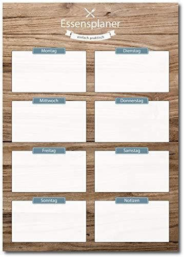 Essensplaner mit schöner Holzoptik im DIN A4 Format | 50 Blatt zum Abreißen | Ideal zum Organisieren täglicher Mahlzeiten | Praktischer Wochenplaner für Zuhause | Blau